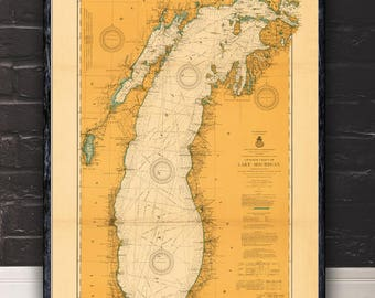 """Large/XL 1915 Lake Michigan nautical map reprint, Vintage Great Lakes nautical map/chart reprint - 6 sizes up to 72""""x48 """" -in 3 three colors"""