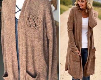 Monogram Cardigan - Monogram Sweater Cardigan - Monogrammed Sweater - Monogrammed Duster Cardigan - Embroidered Monogram - Embroidery