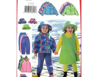 Girls Fleece Jacket, Jumper, Skirt, Pants, Hat Pattern Butterick 5717 Toddler Size 2 3 4 5 Sewing Pattern