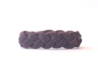 Brown Braided Leather Bracelet, Womans Leather Bracelet, Bracelet for Her, Essential Oil Diffuser, Friendship Bracelet, Braided Bracelet