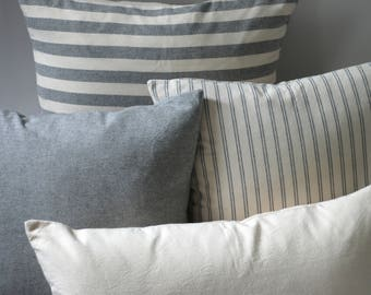 Pewter Collection // 14x36 Pillow Cover + 10 Other Sizes // Linen Pillow Case // Lumbar Pillow Covers