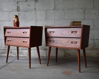 PAIR mid century Modern styled TEAK NIGHTSTANDS end tables