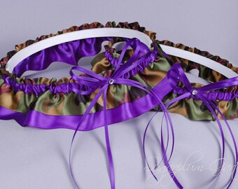 Wedding Garter Set in Purple and Camo Print Satin with Swarovski Crystals