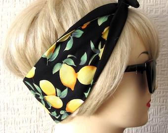 Lemon Print Hair Tie Rockabilly Head Scarf by Dolly Cool Rockabilly Pin Up Carmen Miranda Fruit 50s