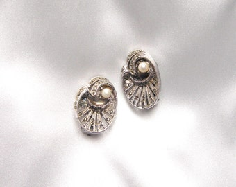 Vintage Marcasite Clip On Earrings, Vintage Faux Pearl Clip On Earrings, Silver Tone Earrings, 50s