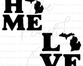 Michigan Square Home State and Love State SVG - State Home and State Love - Instant Download jpeg png svg pdf eps dxf