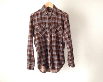 vintage grunge NIRVANA 90s plaid size MEDIUM flannel shirt