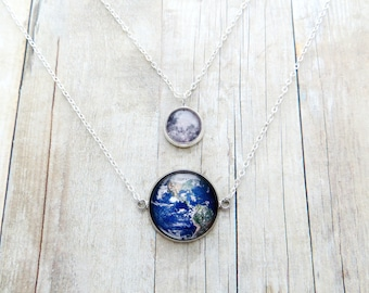 Earth and Moon Handcrafted Layered Necklace