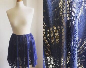 Blue crochet lace high waist skirt
