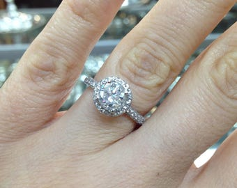 Diamond Halo Ring,  Certified Natural  1.00ct Diamond halo Ring, Round Brilliant Diamond Ring, Diamond Engagement Ring