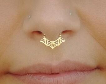 Solid Gold Septum- Real Septum- Flower Of Life- Septum Ring- Sacred Geometry- Septum Jewelry- 14K Gold Septum