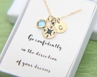 Compass Necklace, High School Graduation for Her, Graduation Gift for Her, College Graduation, Gold Compass necklace, Personalize Graduation