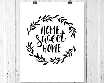 INSTANT DOWNLOAD! Home Sweet Home Svg instant download design cricut, silhouette, Cricut Svg, Silhouette Cut Files, Wreath SVG