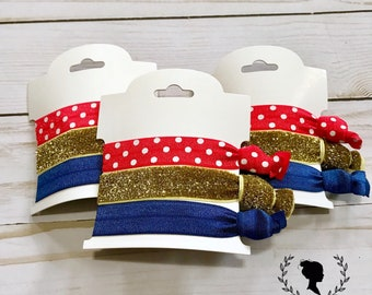Red, Gold and Blue Hair Tie Set