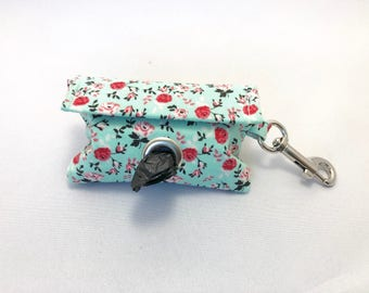 Poop Bag Holder · Dog Bag Holder · Dog Poop Bag Holder · Floral Poop Bag · Dog Owner Gift · Poop Bag Dispenser · Turquoise Bag Holder ·