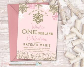 Winter ONEderland Birthday Invitation, Winter Birthday Invitation, Snowflake Birthday Invitation, Winter Onederland, Pink and Gold Birthday