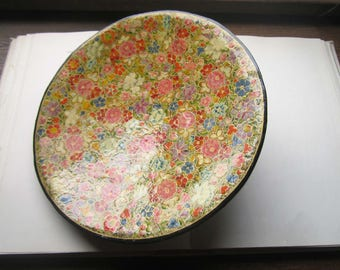 Vintage Handpainted Lacquer Mache Bowl, Colorful Shallow Bowl, Handpainted Wildflowers, Vintage Florabunda, 1970's, Made in Japan,