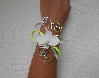 Purple and lime green flower bracelet with Orchid