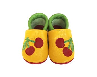 Leather Baby Booties, Baby Shoes, Cherry Shoes, Infant Newborn Nursery Children, Yellow, Green, Red