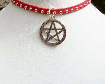 Pentacle Studded Choker, Occult, Witch, Pagan