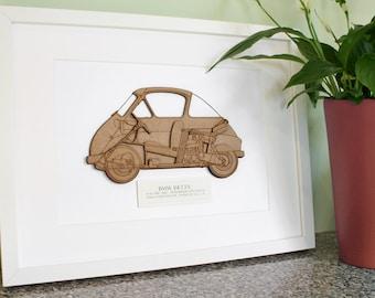 BMW Isetta, BMW Isetta Decor, Bubble Car, Car Blueprint, Custom Wall Art, Isetta Blueprint, Isetta, 3D wall art, Car Art, 8x10 or A4