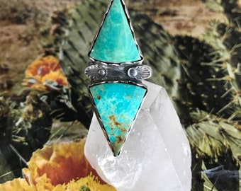 Double Kingman Turquoise Ring, Turquoise Ring, Sterling Silver Ring, Size 8 Ring, Southwestern Jewelry, Boho Accessories, Turquoise Jewelry