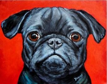 Pug Art Print of Original Acrylic Painting,  Pug Dog on Red