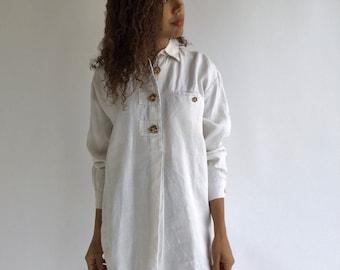 Vintage Stone White Linen Shirt | Folk Blouse Shirt | Simple Linen Tunic | Poet Blouse | Artist Smock | Provence