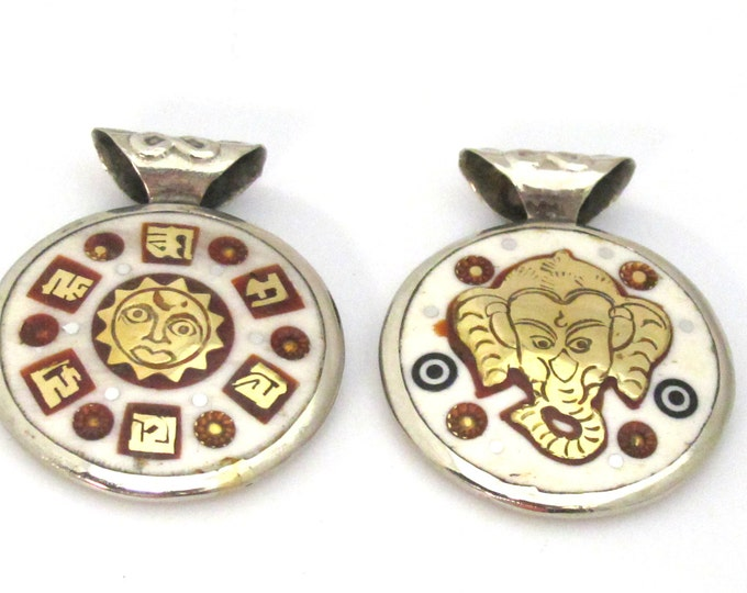 1 Pendant - Reversible Ganesha Sun Om mantra brass inlaid bone pendant - PM477