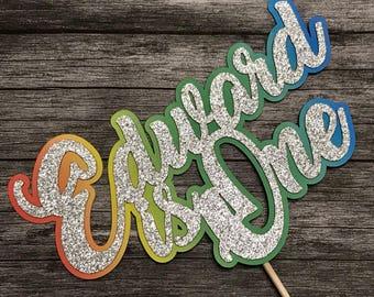 Rainbow Personalised Name One Birthday Cake Topper -  First Birthday Topper, Cake Topper, Rainbow Baby Birthday