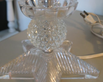Crystal glass lamp, table, desk.