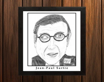 Jean-Paul Sartre - Sketch Print - 8.5x9 inches - Black and White - Pen - Caricature Poster