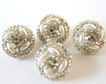 4 Pearl, Rhinestone and Seed Bead Dome Buttons to Recycle into an Upcycled Item