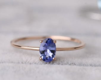 Sale! Oval Shaped Tanzanite ring in solid 18k rose  gold, Tanzanite Engagement Ring, Alternative Engagement Ring