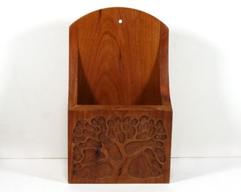 Vintage Wood Organizer, Wall Hanging, 1970s, Hand Carved Tree Design