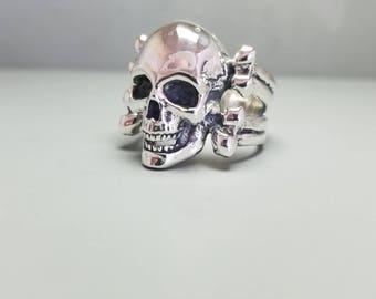 Sterling Silver Skull And Bones Ring