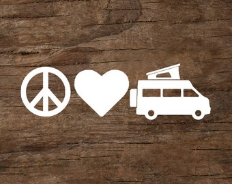 Peace, Love & Camping Camper Van with Pop-Up Window Decal