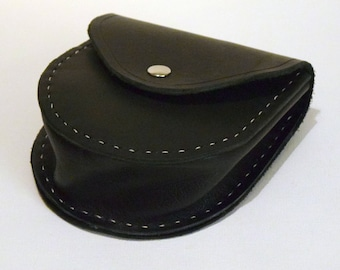 Leather Pouch Satchel Bag Black with Chrome Hand Stitched