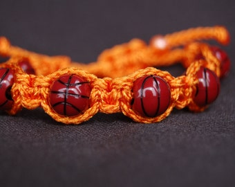 Orange Trendy Basketball Bracelet
