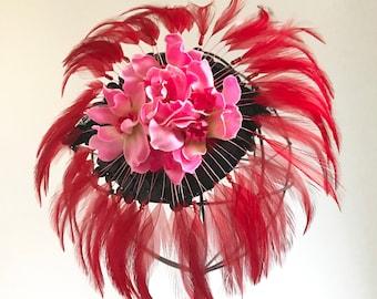 Kentucky Derby Hat, Red Fascinator, Derby Headpiece, Wedding Fasciantor, Feather fascinator, Kentucky Derby hat,  1920s hair clip