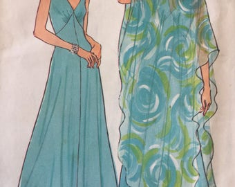 Vintage 1970's Simplicity 7183 Poncho and Dress Sewing Pattern Size 14 Bust 36
