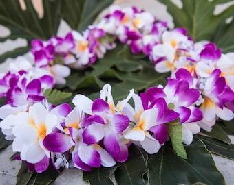 Deluxe SILK FLOWER LEI - Purple & White Plumerias