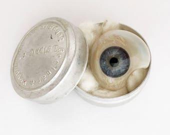 Vintage Human Prosthetic Eye 1950s German Glass Artificial Eye Blue Eyes