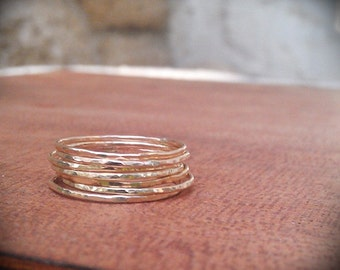 Hammered Gold Stack Rings- 14k Gold filled set of 7 hammered rings