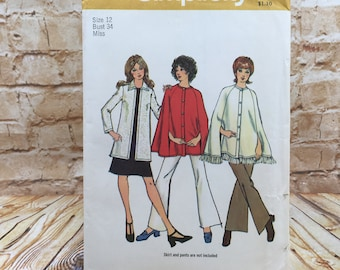 Vintage Simplicity 9869 Womens Lined Cape and Long Sleeve Cardigan Size 12 Bust 34 Uncut Sewing Pattern