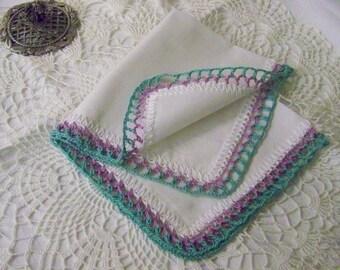 Vintage Wedding, Bridesmaids Handkerchief, Hanky, Hankie, Hand Crochet, Custom Colors, Embroidered, Personalized, Monogrammed, Lace, Ladies
