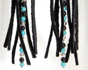 Black Leather Fringe Earrings with Turquoise, Black and Silver Bead Accent, Southwestern Earrings, Boho Earrings, Shoulder Duster Earrings