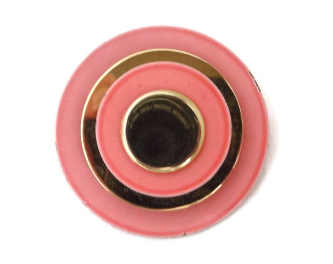 Pink & Gold MOD Brooch - Vintage 1960s Coral Pink Lucite and Metal Pin