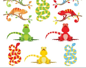 Digital Clipart - Colorful Reptiles for Scrapbooking, Invitations, Paper crafts, Cards Making, Web Designs only FOR PERSONAL USE