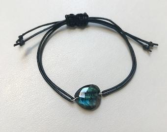 Labradorite Leather Cord Bracelet